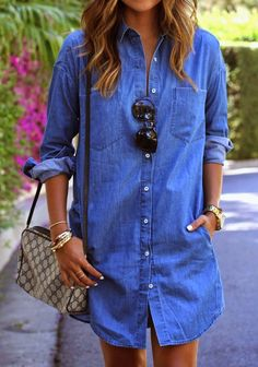 [Her] Sunday's Best : New Obsession | Chambray Shirt Dress