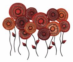 Moroccan Meadow Metal Wall Art Large ~ Red