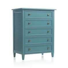 Mix Patina Green & Persian Blue Milk Paint to get this beautiful teal color. Paint.  Done! (Harbor Blue Five-Drawer Chest in Dressers & Chests | Crate and Barrel)
