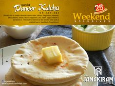 Treat yourself with an exclusive weekend menu at #srijanakiramhotels Paneer Kulcha - Taste your favorite dish and enjoy with your loved ones. #weekend #recipe #special #enjoyment #menu