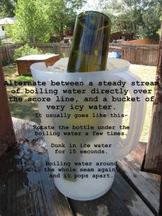 DIY How to safely cut glass bottles with fewer jagged edges. . .another glass cutting method