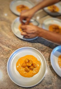 King Prawn, Pumpkin Gnocchi in a Thick Tomato and Basil Bisque - PriMade Foods Prawn Starters, Pumpkin Gnocchi, My Recipes, Basil, Seafood, Eat, Ethnic Recipes, Blog, Sea Food