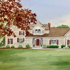 Beautiful realtor closing escrow gift. Watercolor Artwork, Watercolor Paper, House Paintings, Realtor Gifts, Hand Sketch, Wedding Locations, Cool Lighting, Custom Paint, That Way