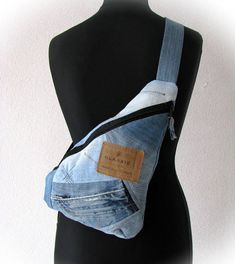 jeans crossbody bag one strap blue denim backpack recycled
