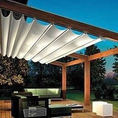 The pergola kits are the easiest and quickest way to build a garden pergola. There are lots of do it yourself pergola kits available to you so that anyone could easily put them together to construct a new structure at their backyard. Diy Pergola, Retractable Pergola, Wooden Pergola, Outdoor Pergola, Pergola Shade, Backyard Patio, Outdoor Spaces, Outdoor Living, Outdoor Decor