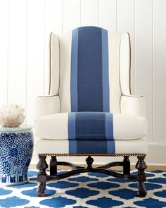 Shop Blue Colorblock Wing Chair from Massoud at Horchow, where you'll find new lower shipping on hundreds of home furnishings and gifts. Blue Wingback Chair, Wingback Chair Covers, Wing Chair, Slipcovers For Chairs, Apolstered Chairs, Furniture Upholstery, Office Chairs, Chair Cushions, Blue Rooms