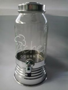 Suqueira de vidro com detalhes em alumínio  3 litros diversas cores !!!