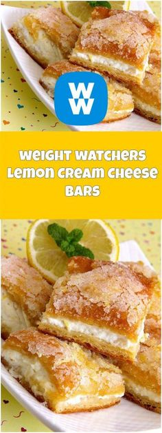 The Most Popular: weight watchers Lemon Cream Cheese Bars Weight Watcher Desserts, Weight Watchers Snacks, Weight Watcher Dinners, Lemon Recipes, Ww Recipes, Low Calorie Recipes, Cooking Recipes, Cooking Ingredients, Healthy Recipes