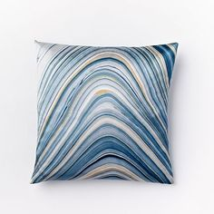 Marble Print Silk Pillow Cover - Dusty Blue #westelm