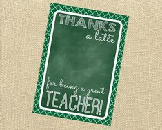 Do you want to say Thanks a latte to a great teacher? What better way to say thank you than with a gift card along with a cute printable card.