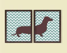 Dachshund Poster - Set of 2 - 8x10 - Daschund, Chevron, Instant Download, Digital Printable Poster, Wall Art, Dog, Pet Lover, JPEG Image
