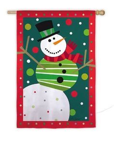 """Regular Sized Silk Reflections Flag: Snowman Fiesta by House-Impressions. $19.95. Silk Reflections Flag. Great for yourself or as a gift. 29"""" x 43"""". A flag is the greeting card of your home. Multi-colored. This snowman throws up his stick arms in celebration of the red, green, and white snow swirling around him like thrown confetti. With his green striped vest and his long red scarf, he is a handsome addition to the season. Share the fun and warmth of the winter months with th..."""