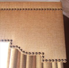 Upholstered Cornice Box.... linen upholstry tacks detailed cornice burlap texture window treatment --- We can help you replicate this look!