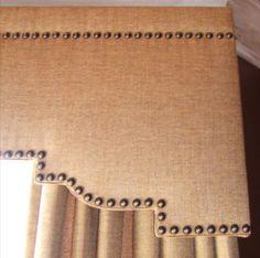 Upholstered Cornice Box.... linen upholstry tacks detailed cornice burlap texture window treatment