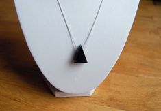 Excited to share the latest addition to my #etsy shop: Buffalo Horn Black Triangle Necklace on Silver Chain   #jewellery #necklace #trianglenecklace #geometricnecklace