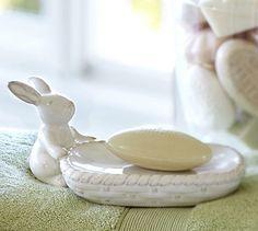 Bunny & Basket Soap Dish #potterybarn