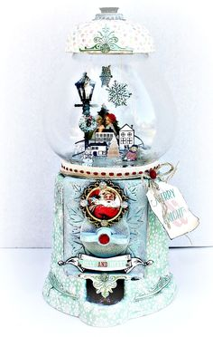 Altered gumball/Snowglobe for Prima using Sweet Peppermint - Scrapbook.com