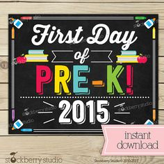 First Day of Pre K Sign Day of School by stockberrystudio School Grades, 1st Day Of School, Chalkboard Poster, Chalkboard Ideas, Wishes For Baby Cards, Kindergarten First Day, School Signs, Party Items, Etsy App