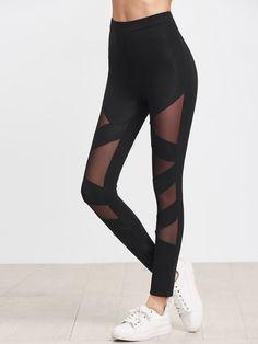 e04d42eabaf123 All Sexy Regular Plain Black Crop Length Mesh Insert Striped Leggings Mesh  Insert Leggings, Mesh