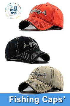 369dc106ec44d High Quality 100% Pure Cotton Fish Bone Fishing Hat Available in Black