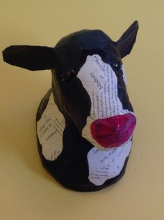 Faux Taxidermy Cow//paper Mache Animal by BlueRoosterArts on Etsy