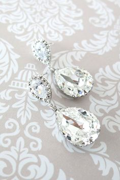 Sandra - Swarovski Crystal Teardrop Earrings