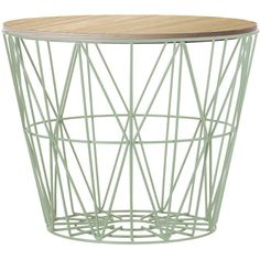 Ferm Living Medium Wire Basket - Mint with Oiled Oak Lid ($199) ❤ liked on Polyvore featuring home, home decor, small item storage, mint, green, green home decor, green basket, ferm living, lidded basket and wire home decor