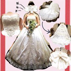 ドレス試着編  WD9着目 とうとう出逢っちゃいました たぶんこれが私の#運命のドレス  名前は#アマレッティ  #アニヴェルセルオリジナル で アニで挙式する人しか着れないドレス ほんと#一目惚れ でしたー  一番のお気に入りは胸元 深いハートカップでビーズの刺繍が可愛すぎる 全体的にオフホワイトなんだけど ハリ感のある生地で(なんかいいやつっぽかったけど忘れた) 刺繍が金色でそこもまた素敵 トレーンは透けないけど縁もなかなか好きです(òωó) ロングベール合わせようかなー  バックスタイルは2wayで 挙式する用と披露宴用で雰囲気が全然違う みんな気づくかなーとか考えてたら もうこの子を着たくてたまらなくなりました  ただ唯一腰のお花はちょっとしっくりきてないので 大きなリボンに付け替えしようと思います  写真を見返す度に好きになる 自分らしいドレスに出逢えて ほんとにうれしーい  #アニヴェルセル #タカミブライダル #takamibridal #運命の一着  #weddingdress #当日楽しみ  #さあ痩せよう by wedding.ki528