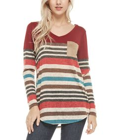 Look at this Burgundy Stripe Pocket Tee on #zulily today!