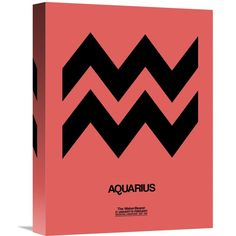 """This hand crafted stretched canvas of Naxart Studio """"Aquarius Zodiac Sign Black"""" is a museum quality reproduction of the original work. Shipped to you finished and ready-to-hang, it is a welcome addition to any type of decor."""