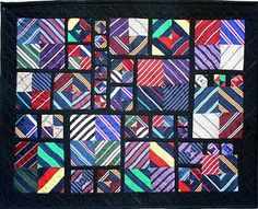 A quilt made from neckties