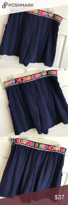 Alice and Trixie Navy Silk Shorts with Neon Band Alice and Trixie Navy Silk Shorts with Neon Print Band. Size Large. But fit closer to a medium in my opinion. Excellent condition. Alice & Trixie Shorts