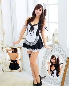Sexy Women Halloween Costume Cosplay French Maid Lingerie Outfit Fancy Dress New ------- Price:US $4.99 + Free Worldwide Shipping