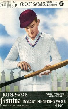 Bairnswear.  Vintage knitting pattern for cricket jumper Late 1940's