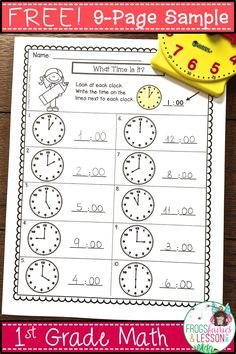 This is a FREE SAMPLE of a Comprehensive 1st Grade Math Practice and Assessments resource. Enjoy one page from each: Counting to 120, Addition to 20, Subtraction from 20, Measurement, Place Value, Shapes, Fractions, Telling Time, and Graphing!