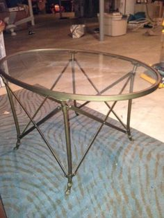 Classic antique brass oval cocktail table