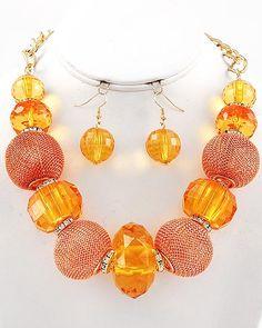 Orange Mesh Necklace Set $40.00