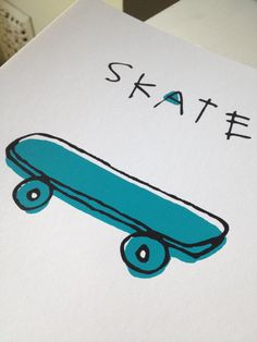 Skateboard Screen Print  Yellow OR Blue by LittleKorboose on Etsy, $12.00