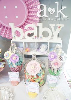 Cute decorations at a pastel baby shower!  See more party ideas at CatchMyParty.com!  #partyideas #babyshower