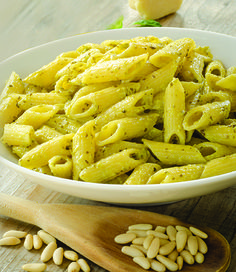 Penne pasta with pine nuts and olive oil
