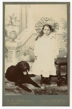 ANTIQUE CURLY COATED RETRIEVER DOG CABINET CARD PHOTOGRAPH WITH PRETTY GIRL |