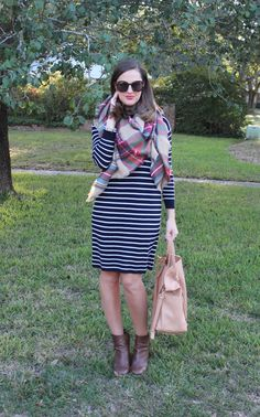 J.Crew stripe dress and plaid blanket scarf via With Style and a Little Grace