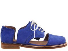 Minimarket Flat Lace Up Cut Out in Blue