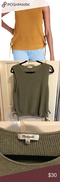 Madewell Gray Side Tie Sleeveless Sweater Tank Please note color is gray not mustard,  cover photo is for fit and style reference only. See actual item photos for color reference. This tank has 2 side ties on each side that can be worn in knots or bow. True to size. Size XL Madewell Tops Tank Tops