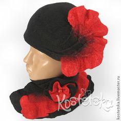Шляпка и горжетка `Пиковая дама`. Красная, черная, красно-черная.. Классическое сочетание красного и черного, столь любимое женщинами.    Стильная шляпка с объемным декором и горжетка с красно-черными воланами.    Горжетка застегивается на брошь-цветок, которая может быть…