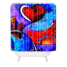 Madart Inc. City In Motion Shower Curtain | DENY Designs Home Accessories  Madart Inc.© Soft Wind Blowing Shower Curtain ~  #showercurtain #colorful #childrens #kidsbathroom