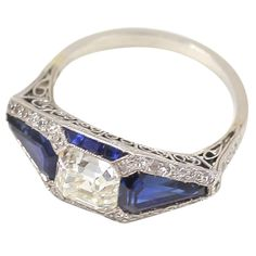 Asscher Cut Diamond and Sapphire Art Deco Ring | From a unique collection of vintage three-stone rings at https://www.1stdibs.com/jewelry/rings/three-stone-rings/