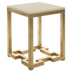 """Ivory Granite Brass Accent Table; 18.6""""H x 14""""w x 14""""D; $273"""