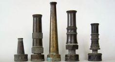 5 Vintage Brass Water Hose Nozzles   Royal by ElizabethJaneCottage