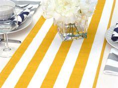 Yellow White Stripes Table Runner
